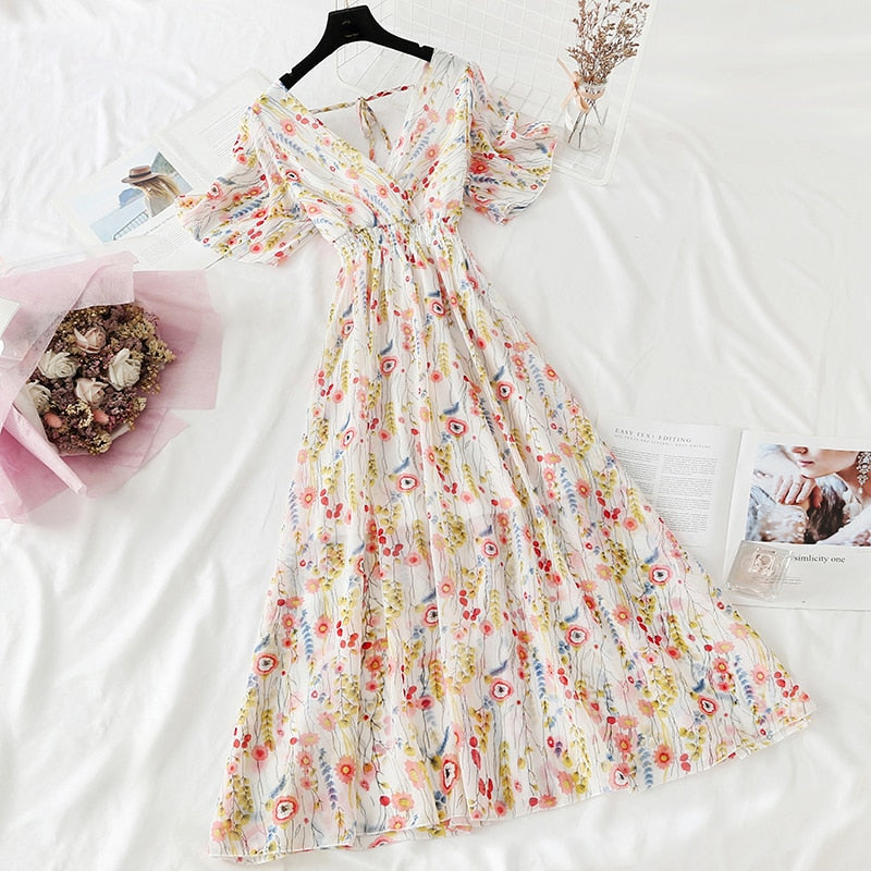 2021 Summer Women Ruffled Short-sleeved Chiffon Dress V-neck High Waist Floral Print Beach Midi Dresses Backless Sexy Vestidos