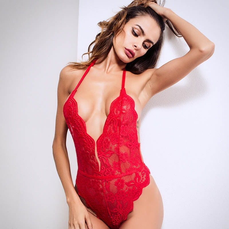 Women Open Crotch Halter Lace Bodysuits Transparent