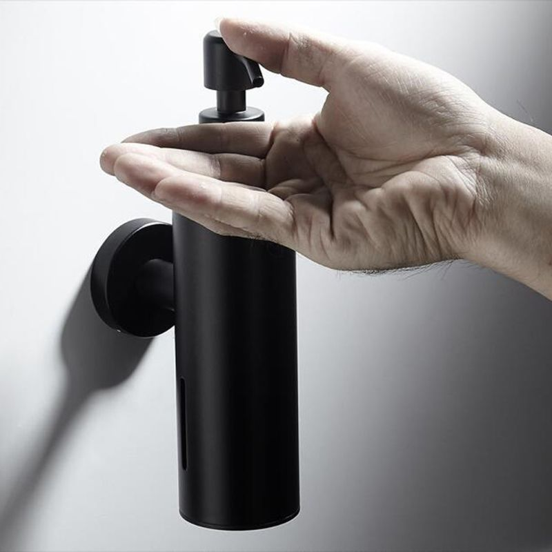 200ml Wall Mounted Shower Bottle Pump Stainless Steel Shampoo Dispenser Black