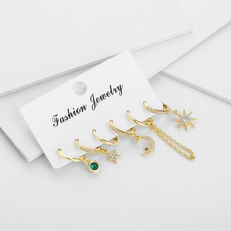 New Set Cute Star And Moon Small Hoop Earrings Sets Crystal Long Gold Chain Earrings For Women Fashion Jewelry Gift 2020 aretes