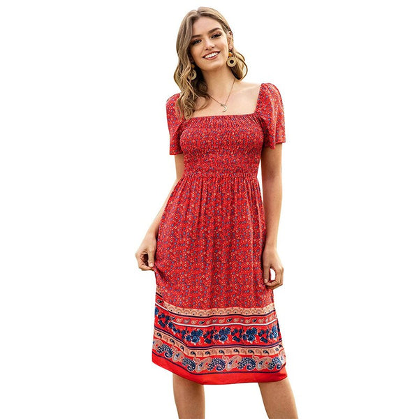 Summer Boho Slim Dress for Women with Short Sleeve
