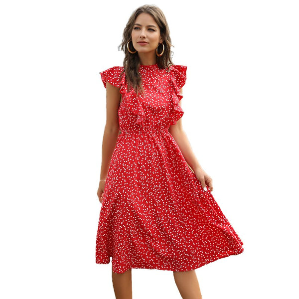 Summer Chiffon Dress for Women with Polka Dot Print