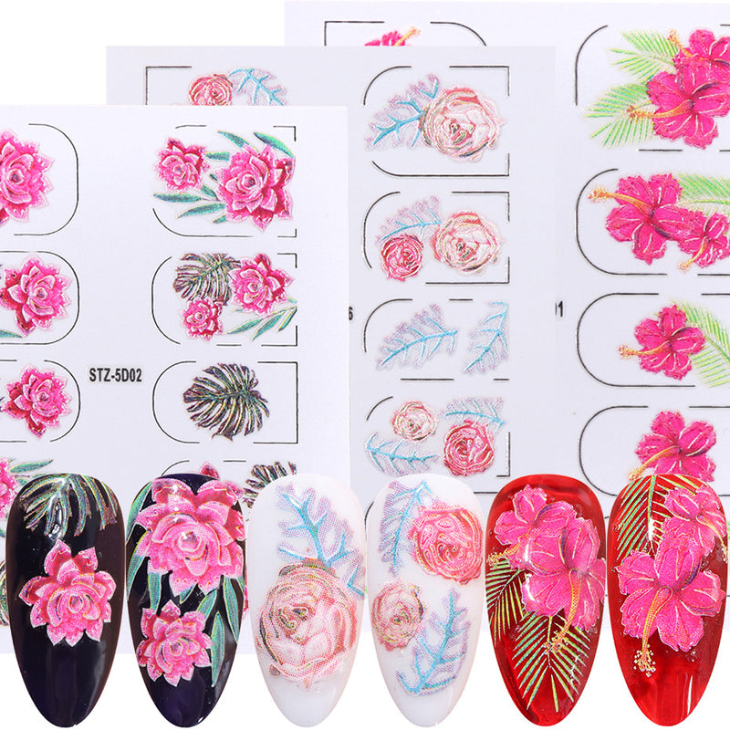 2020 Summer Nails Stickers Set Acrylic Engraved Emboss Flower Leaf Adhesive