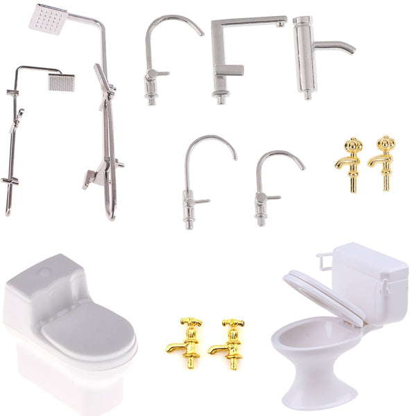 Dollhouse Miniature Bath Shower Modeling Toilet Bathtub Faucet Simulation Water Tap Toys for Doll House Furniture Toys