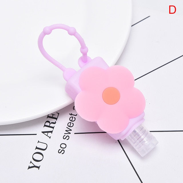 Cute Flower Animal Silicone Bath Shower Hand Sanitizer Bottle Holder Portable