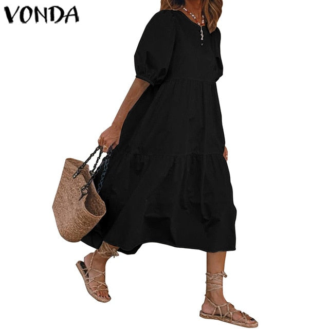 Summer Dress Vintage Sexy Lantern Sleeve Mid-Calf Dress Beach Bohemian Women'Summer Sundress 2021 VONDA Casual Vestido Plus Size