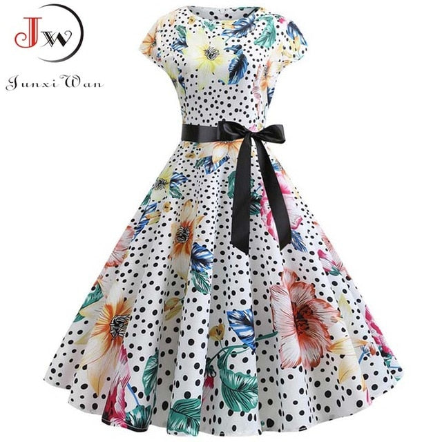 2021 Women Summer Dress Vintage Floral Print Rockabilly Dress Robe Femme Sundress Vestidos Plus Size Polka Dot Party Dress