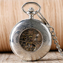 Retro Silver Skeleton Steampunk Hand-wind Mechanical Pocket Watch with Chain For Men Women relojes de bolsillo