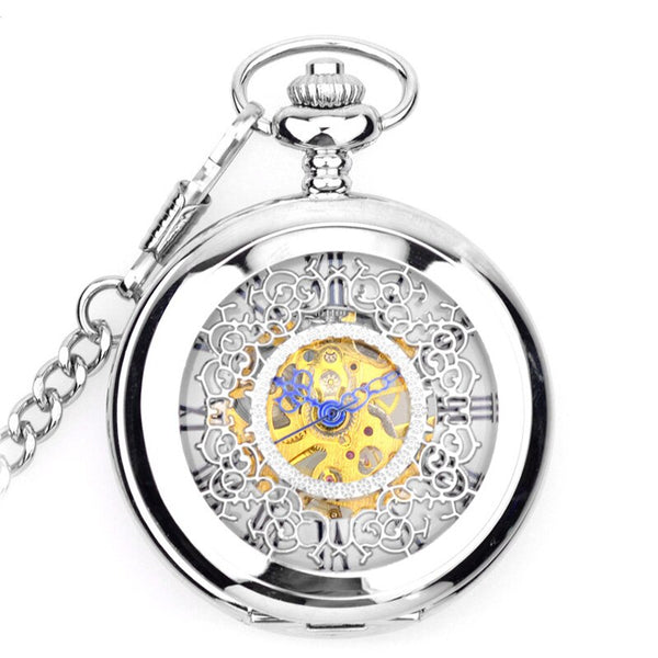 Skeleton White Dial Silver Case Roman Numeral Analog Jewelry Clock Chain Men Mechanical Pocket Watch Gift