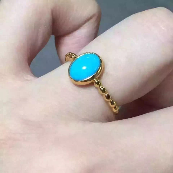 Ring Turquoise For Women S925 Silver Adjustable Ring For Girls