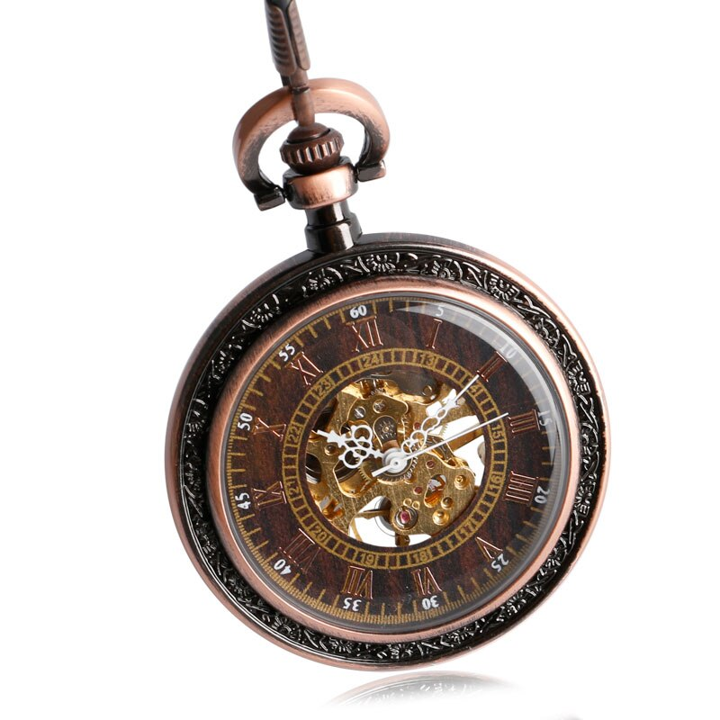 New Steampunk Archaize Antique Copper Skeleton Carving Mechanical Hand Wind Pocket Watch for Men Women Gift With 30 cm Chain
