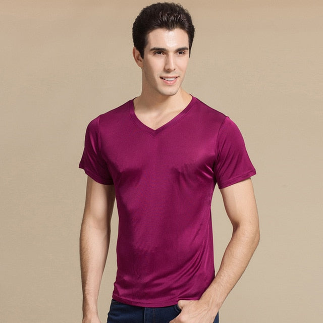 Men basic T shirt 100% Natural Silk V neck Solid shirt Short Sleeve top Mens silk top White Black Grey 2018 New Spring Summer