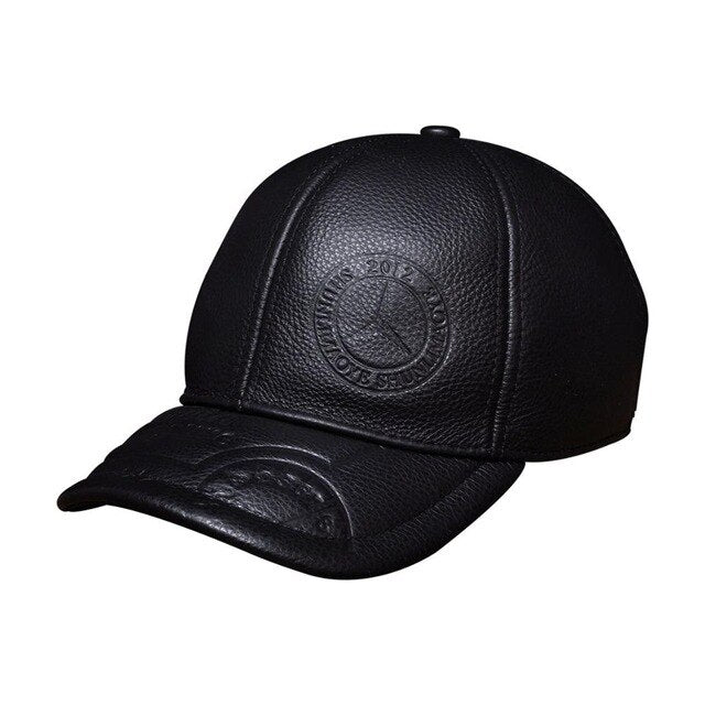 Spring genuine cow leather baseball cap hat men's brand new