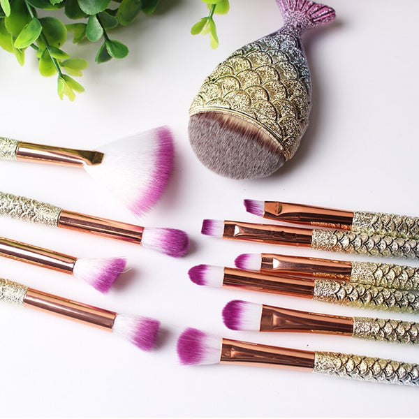 1-11Pcs/pack Mermaid Makeup Brushes Set Power Foundation Blending Eye Shadow Contour Blush Face Beauty  MakeUp Brush Tool Kit