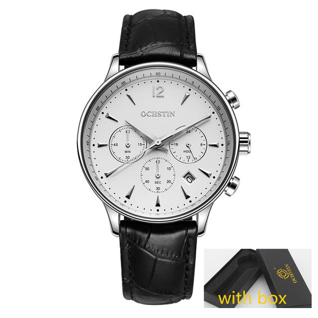 Men Sport Top Brand Luxury Leather Quartz Watch Men's Fashion Casual Big Dial Date Wristwatch reloj hombre
