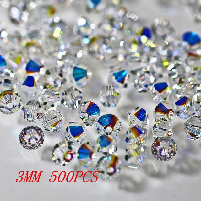 5328 3mm 4MM 6mm 8mm 10mm clear crystal AB color crystal bicone bead ,For jewelry beading accessories half ab Diy H205