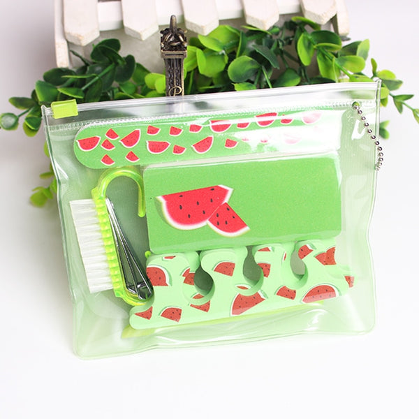 Travel Nail Care Set Watermelon Round Dot Pedicure Manicure Set Nail Art Tools Emery Board File Buffer Toe Separators