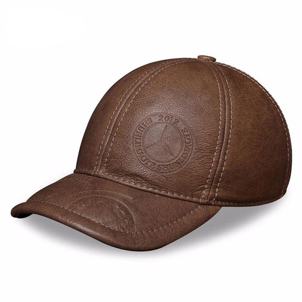 HL131 Spring genuine cow leather baseball cap hat men's brand new style winter warm thick caps hats foe man one size