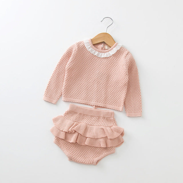 Baby Girls Clothing set Knitted Newborn Baby Boys Clothes Ruffle Spring Summer+Shorts 2 pcs Outfits Toddler Baby Clothes Set