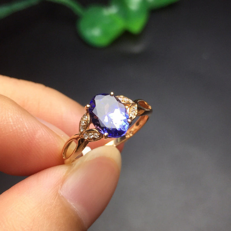 Tanzanite Rose Gold Ring For Women High Qulaity Fine Jewelry