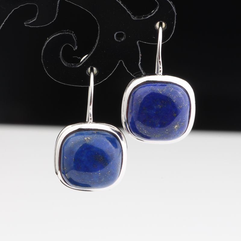 Natural Afghan Lapis Earrings Solid 925 Sterling Silver Earrings for Women