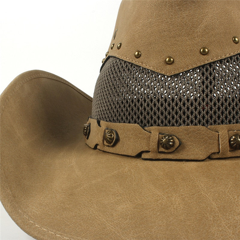 100% Leather Women Men Western Cowboy Hat For Dad Gentleman Lady Cowgirl Sombrero Hombre Jazz Caps 9 Stlye