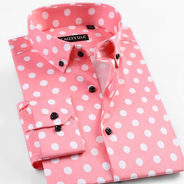 Polka Dot Men Dress Shirt Brand Blouse Homme