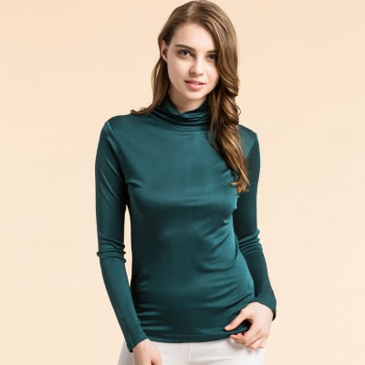 Women T shirt 100%Real Silk Turtleneck long sleeved Bottoming shirt 2018 FALL WINTER Primer shirt Plus size Spandex top