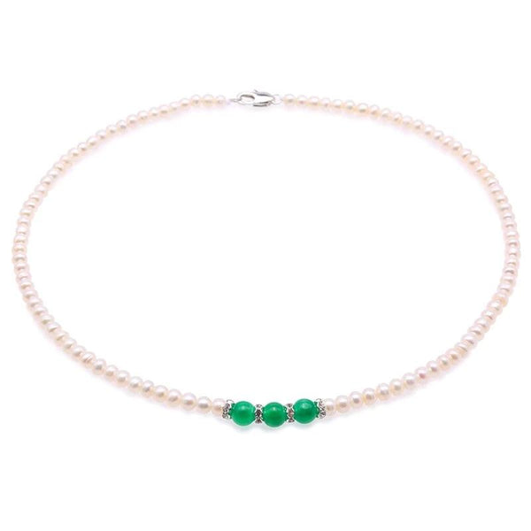 Freshwater Jade Rhinestone Necklace for Women