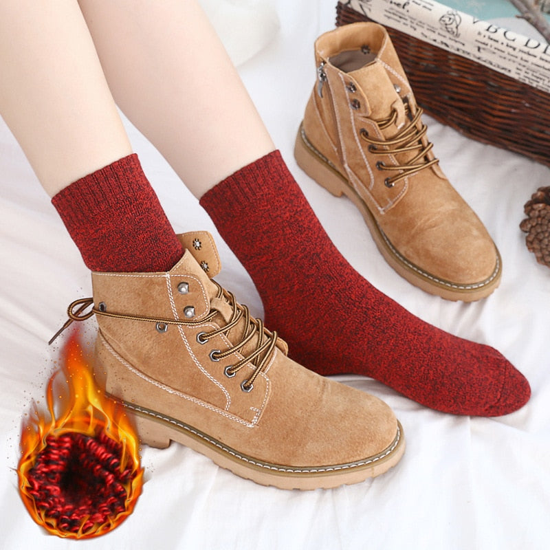 Winter woman thick warm terry cotton fashion socks women's solid cotton wool and line towel socks 5 pairs