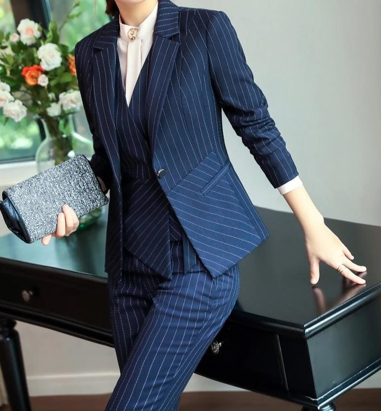 New Professional Striped Blazers Suits With Jackets And Pants And Vest Coat & Waistcoat And Blouses Women Pants Suits OL Styles