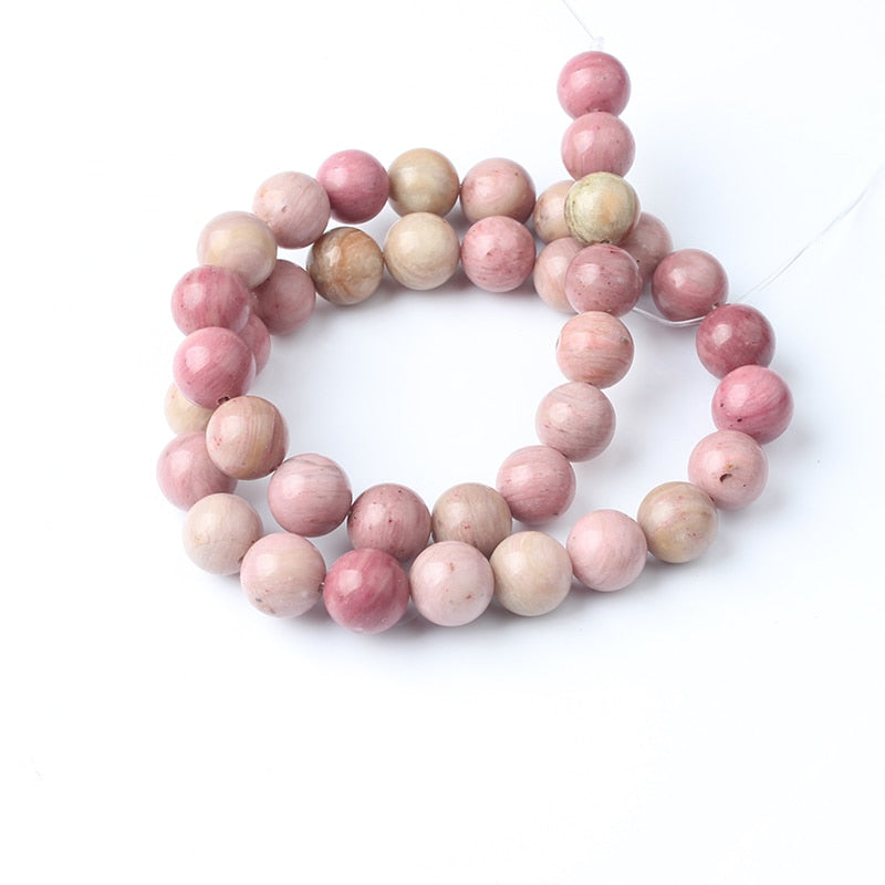 LanLi 4/6/8/10/12mm Pink Natural Rhodochrosite Loose Stone Beads For Jewelry Making Bracelet Necklace Earrings DIY