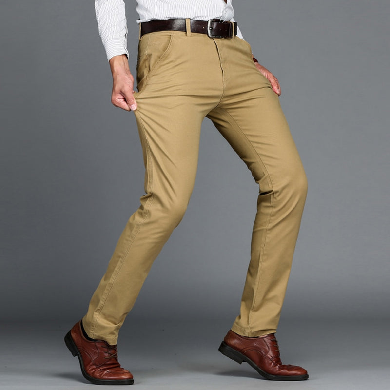 VOMINT Mens Pants High Quality Cotton Casual Pants Stretch male trousers man long Straight 4 color Plus size pant suit  42 44 46