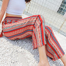 Red Women Pants Geometric Loose Bottoms Thailand Bali Kai Resort Beach Chiffon Wide Leg Trousers Women Bohemian Pants