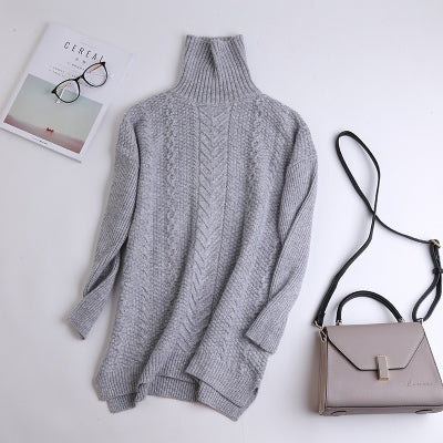 2019 new 100% pure cashmere sweater women winter thick pullover female turtleneck knitted pullover upscale outwear loose sweater
