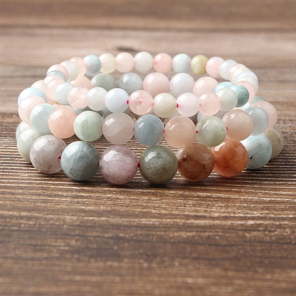 LanLi 4/6/8/10/12mm Natural Jewelry multicolor Morganite Stones Beads Bracelet Fashion accessories for beautiful women
