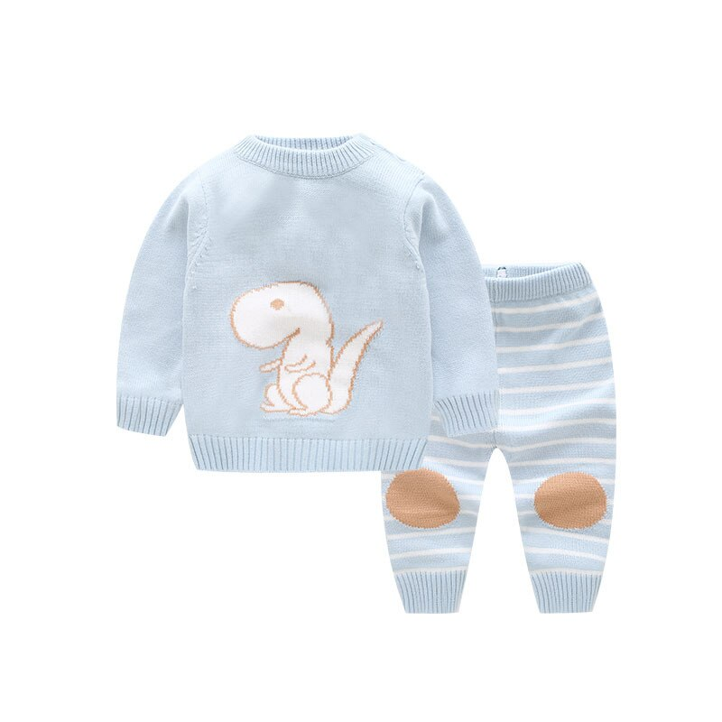 Lovely Dinosaur Baby Sets Infant Sweater Newborn Baby Clothes 2pcs Pullover Long Sleeve Tops+Striped Pants Toddler Boys Suits