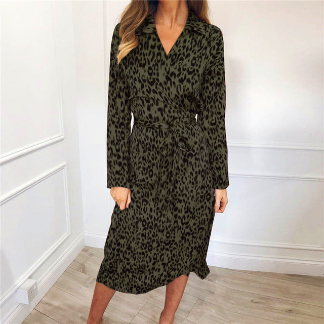 Women Leopard Dress 2019 Sexy Bandage Party Long Dresses Vintage Long Sleeve Beach Chiffon Dress Sundress Vestidos de fiesta