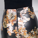 2019 New Fashion Floral Print Design Black Genuine Leather Skirts Mini Pencil Skirt Faldas Sheepskin Bottom Free Ship High Waist
