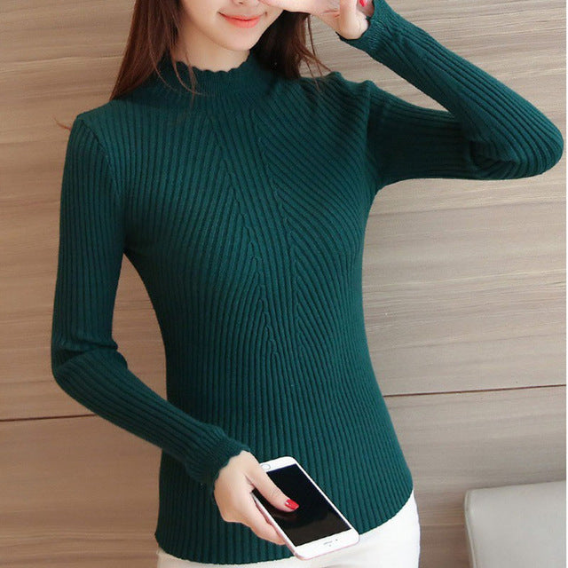 Bottoming sweater women 2018 autum ladies long sleeve half turtleneck slim fitting knitted pull femme hiver tight casual shirts