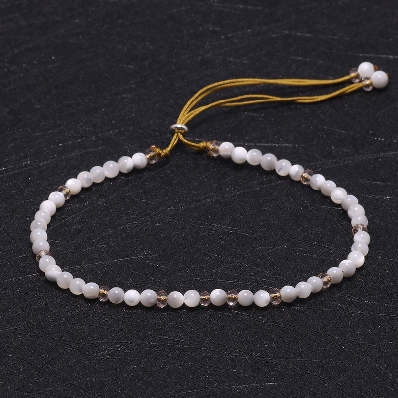 Adjustable Natural Shell Crystal Beads Bracelet for women with Silver 925