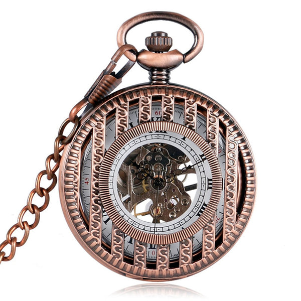 Rose Gold Hollow Half Hunter Mechanical Pocket Watch for Women Men Vintage Pocket Pendant Chain Roman Numeral Hand Winding Clock