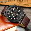 Sports Quartz Mens Watches Brand Military Leather Waterproof Wristwatch