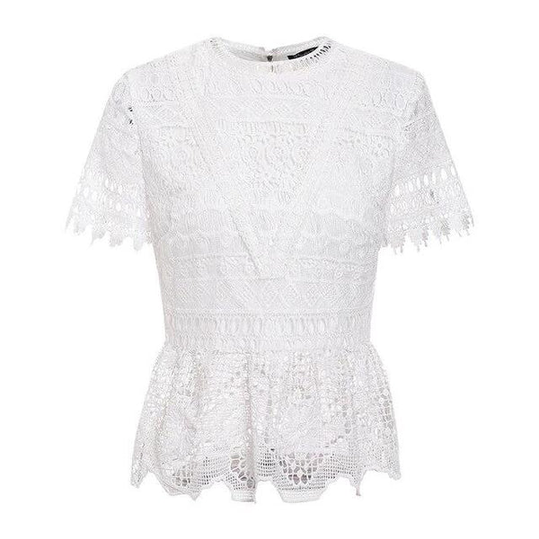 Simple Elegant Lace Women Blouse Shirt Short Sleeve | Femme Blouse Manches Courtes