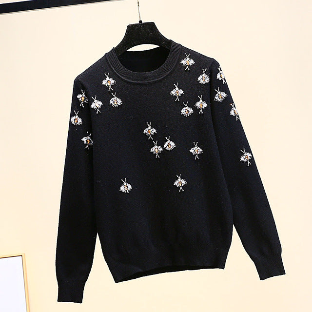 2019 Luxury Brand Autumn Winter Black Sweaters Pullovers Knitted Women Christmas Runway Bee Diamond Jumper Ladies Clothes C-418