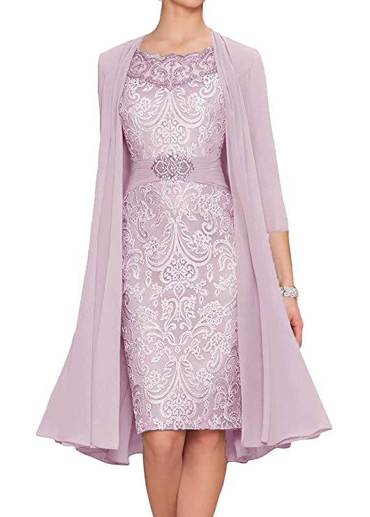 2019 Chiffon Mother Of The Bride Dresses Plus Size Tea Length Two Pieces With Jacket
