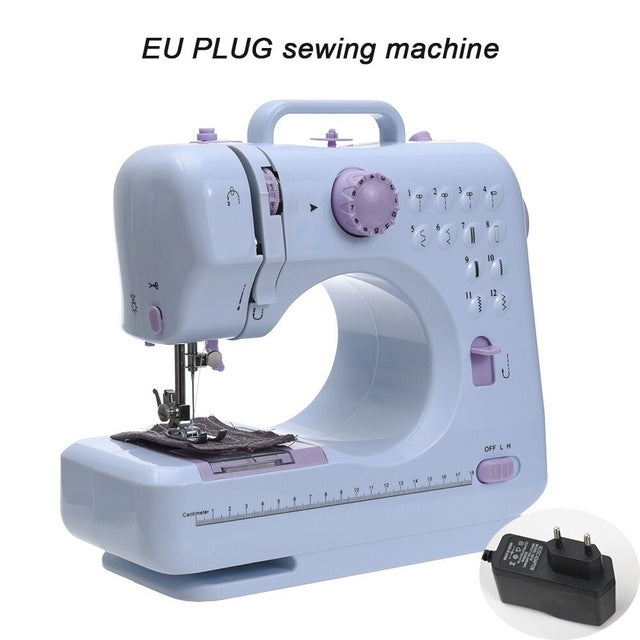 Fanghua Mini 12 Stitches Sewing Machine Household Multifunction Double Thread And Speed Free-Arm Crafting Mending Machine LED