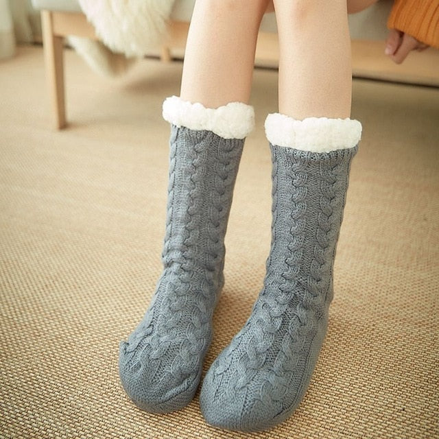 Autumn Winter Thicken Plush Knitted Cotton Socks Women Non-slip Home Floor Socks Warm Mid-calf Hosiery For House Slippers New