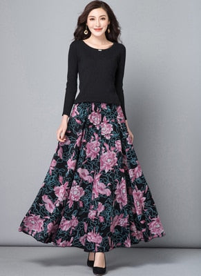 Custom Made 2019 Autumn And Winter Women Plus Size Bohemia Expansion Bottom Long Skirt Female Pleated Thickening Full Skirt