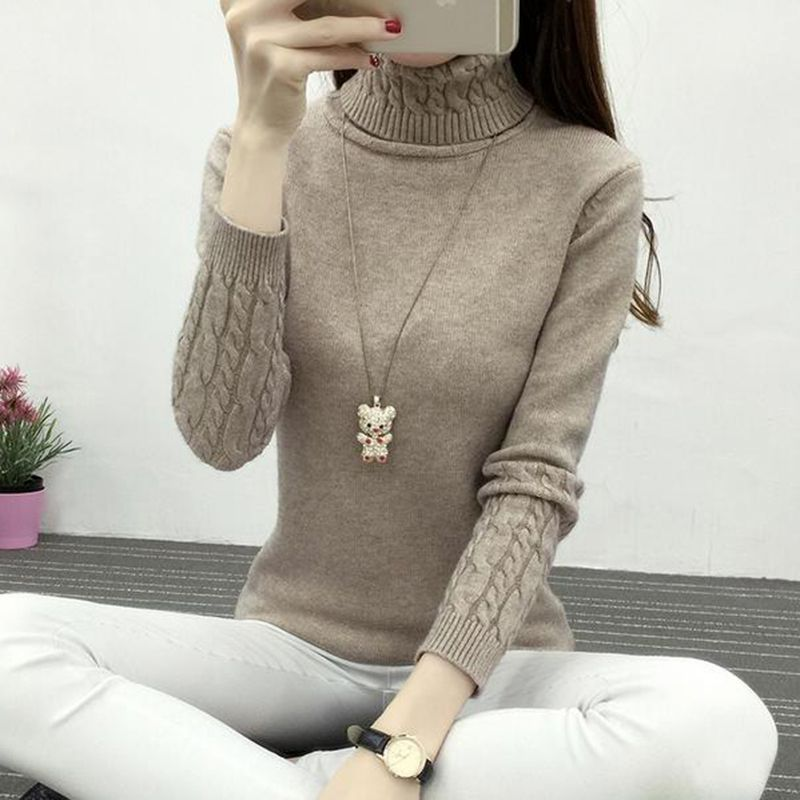 2019 New Autumn Winter Women Knitted Sweaters Pullovers Turtleneck Long Sleeve Solid Color Slim Elastic Sweater Women